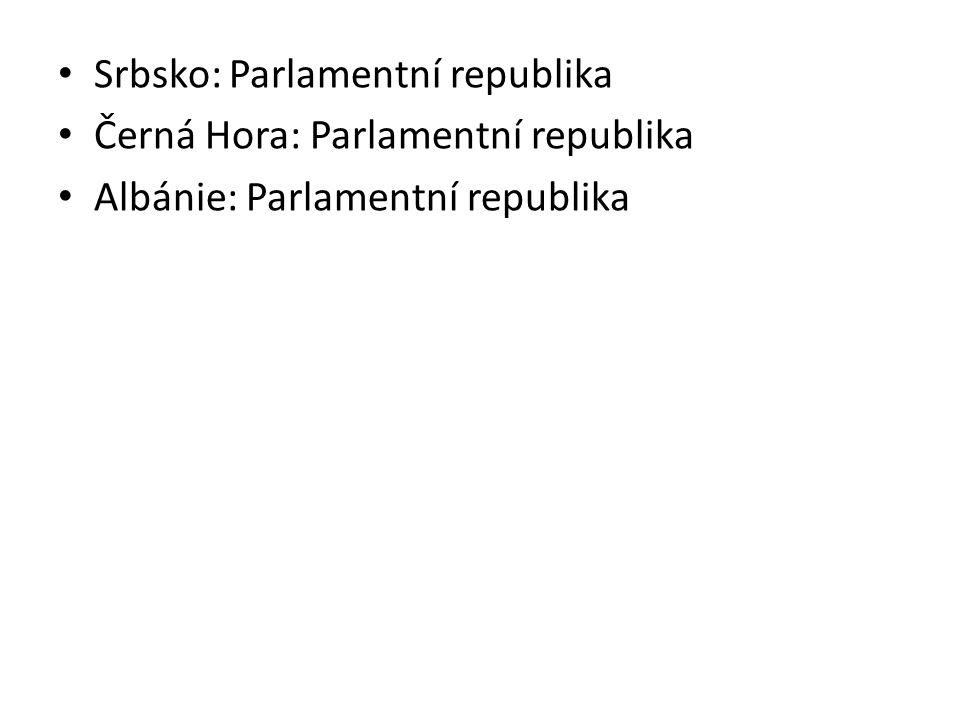 Srbsko: Parlamentní republika Černá Hora: Parlamentní republika Albánie: Parlamentní republika