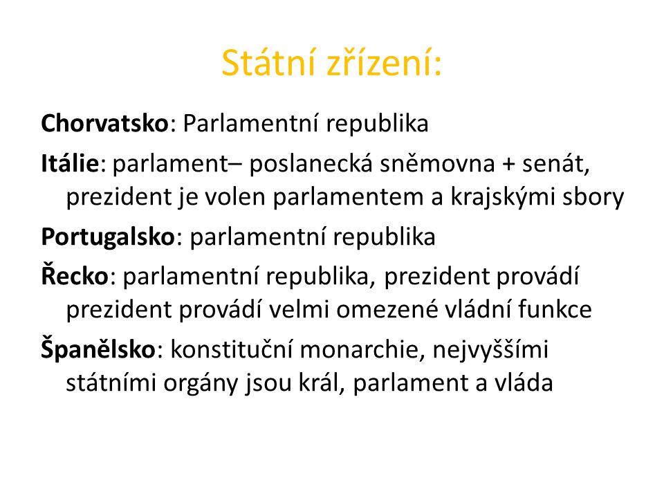Státní zřízení: Chorvatsko: Parlamentní republika Itálie: parlament– poslanecká sněmovna + senát, prezident je volen parlamentem a krajskými sbory Por