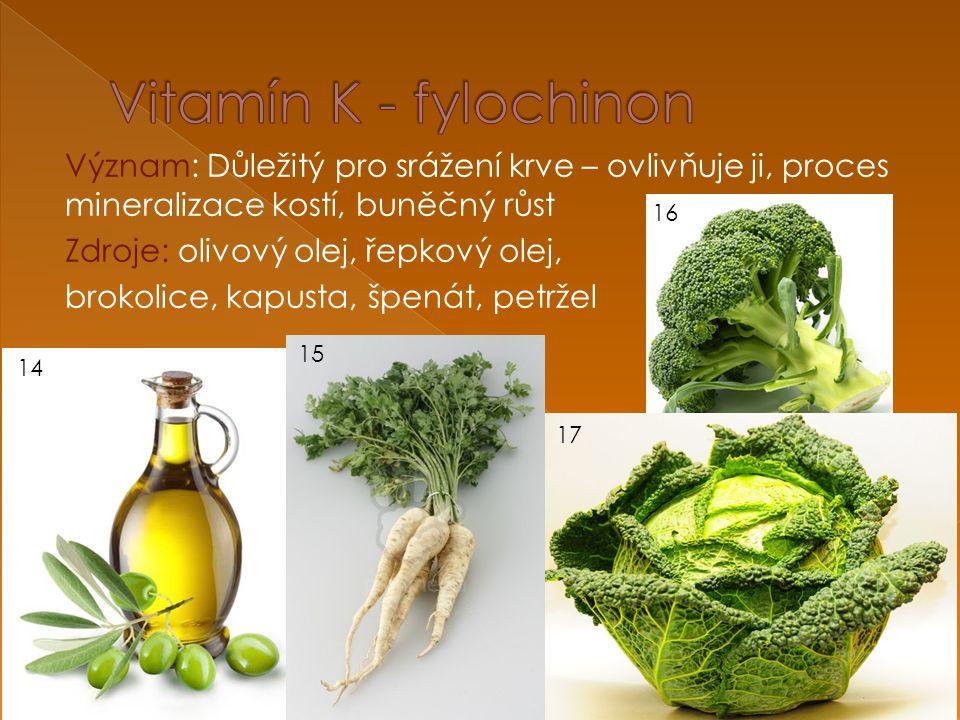 Význam: Důležitý pro srážení krve – ovlivňuje ji, proces mineralizace kostí, buněčný růst Zdroje: olivový olej, řepkový olej, brokolice, kapusta, špenát, petržel 14 15 16 17