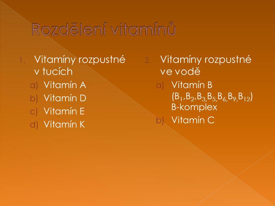 1. Vitamíny rozpustné v tucích a) Vitamín A b) Vitamín D c) Vitamín E d) Vitamín K 2.