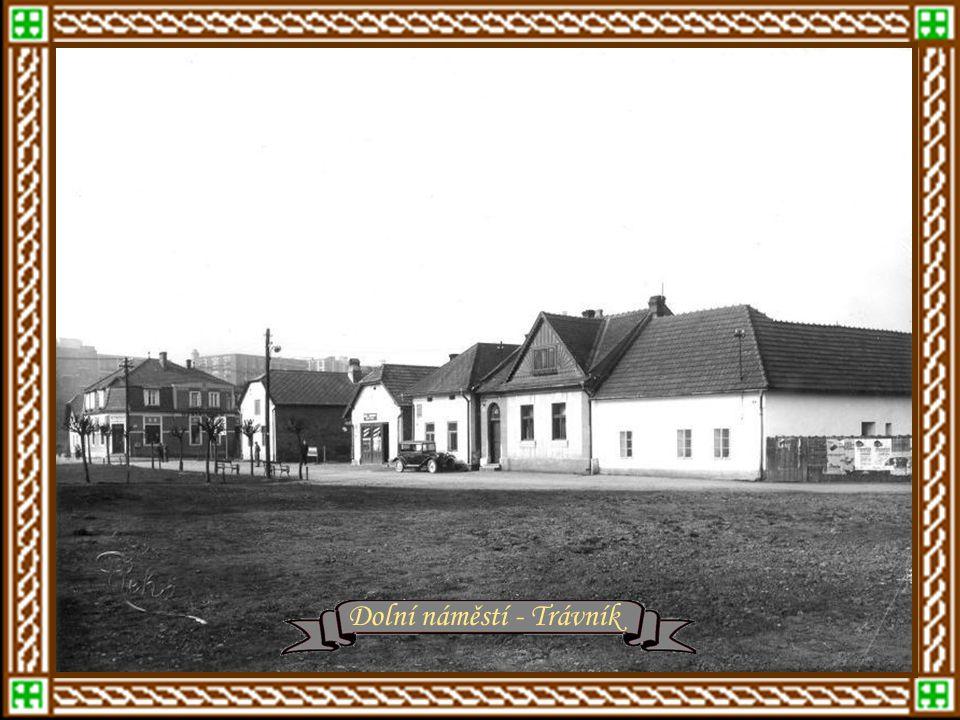 rok 1934 – Štefánikova ulice, vpravo Školní čtvrť r.1935 – Masarykovy školy