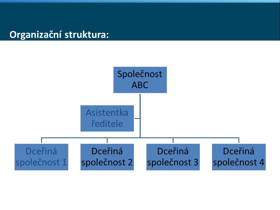 Organizační struktura: Společnost ABC Dceřiná společnost 1 Dceřiná společnost 2 Dceřiná společnost 3 Dceřiná společnost 4 Asistentka ředitele
