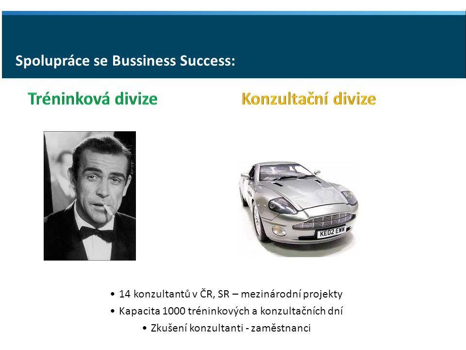 Spolupráce se Bussiness Success: 14 konzultantů v ČR, SR – mezinárodní projekty Kapacita 1000 tréninkových a konzultačních dní Zkušení konzultanti - zaměstnanci