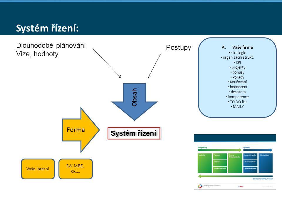 Systém řízení: Obsa h Dlouhodobé plánování Vize, hodnoty Postupy A.Vaše firma strategie organizační strukt.