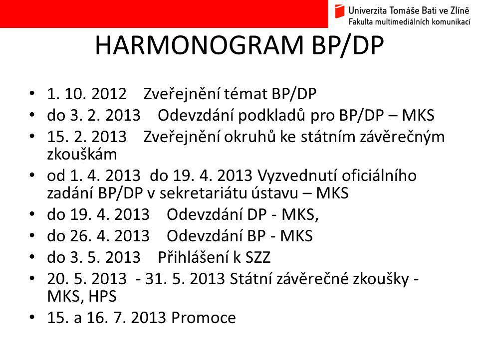 HARMONOGRAM BP/DP 1.10. 2012 Zveřejnění témat BP/DP do 3.
