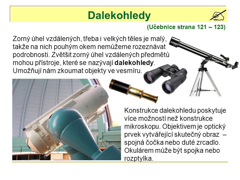 Dalekohledy (Učebnice strana 121 – 123) Zorný úhel vzdálených, třeba i velkých těles je malý, takže na nich pouhým okem nemůžeme rozeznávat podrobnost