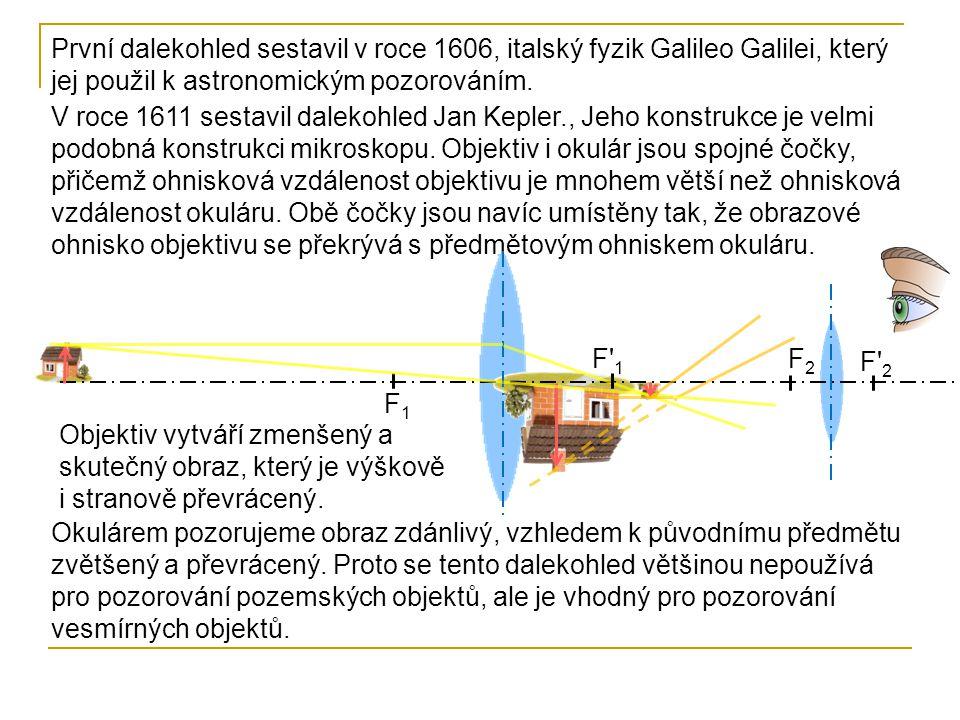 F2F2 F 2F 2 F1F1 F 1F 1 Při zaostření dalekohledu na velmi vzdálený předmět, je vzdálenost objektivu a okuláru rovna součtu jejich ohniskových vzdáleností.
