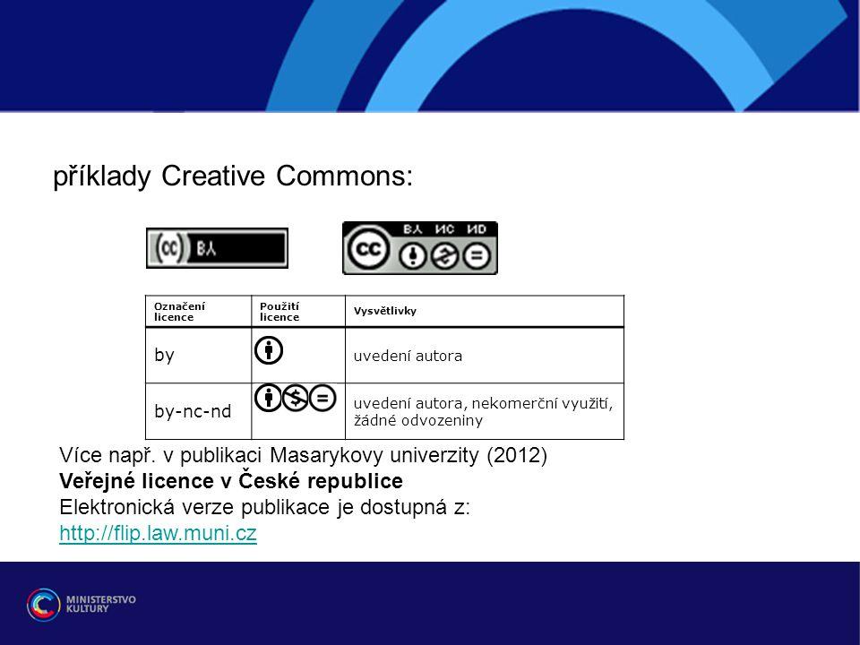 r příklady Creative Commons: Označení licence Použití licence Vysvětlivky by uvedení autora by-nc-nd uvedení autora, nekomerční využití, žádné odvozen