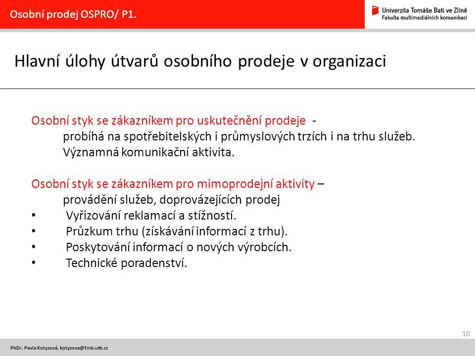 10 PhDr. Pavla Kotyzová, kotyzova@fmk.utb.cz Hlavní úlohy útvarů osobního prodeje v organizaci Osobní prodej OSPRO/ P1. Osobní styk se zákazníkem pro