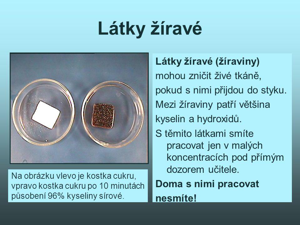 Látky žíravé Látky žíravé (žíraviny) mohou zničit živé tkáně, pokud s nimi přijdou do styku.