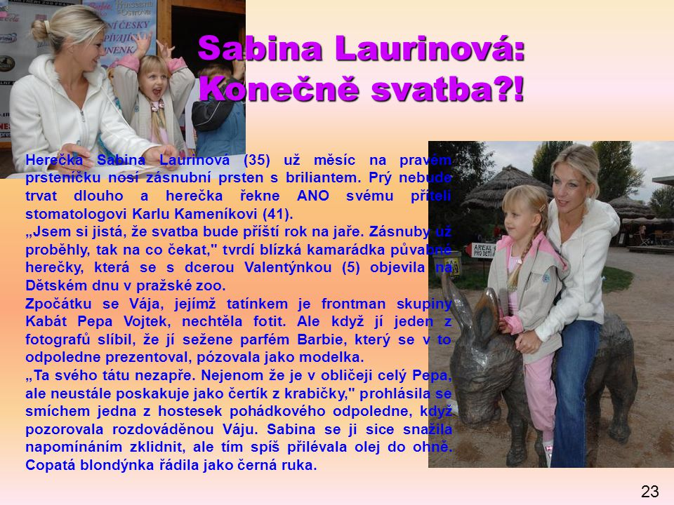 Sabina Laurinová: Konečně svatba?! Herečka Sabina Laurinová (35) už měsíc na pravém prsteníčku nosí zásnubní prsten s briliantem. Prý nebude trvat dlo
