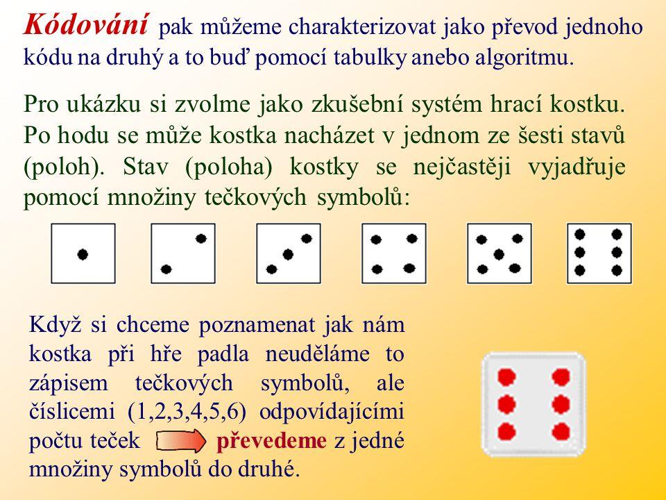 Kódování pak můžeme charakterizovat jako převod jednoho kódu na druhý a to buď pomocí tabulky anebo algoritmu.