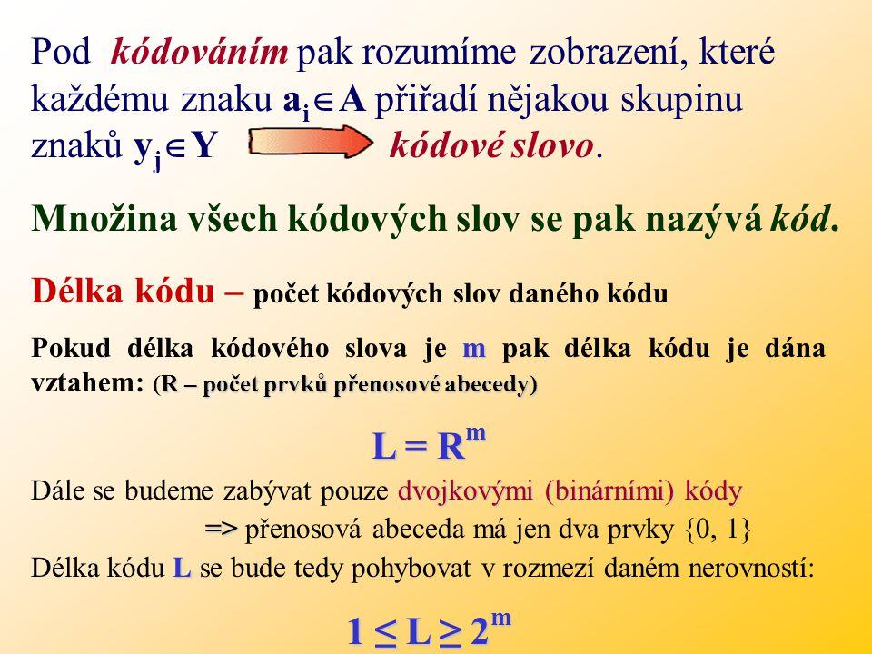 Vyjádřeno matematicky: Při přenosu informací používáme dvě základní abecedy. Přenosová abeceda (abeceda přenosového kanálu) Y={ y 1,..., y R } je kone