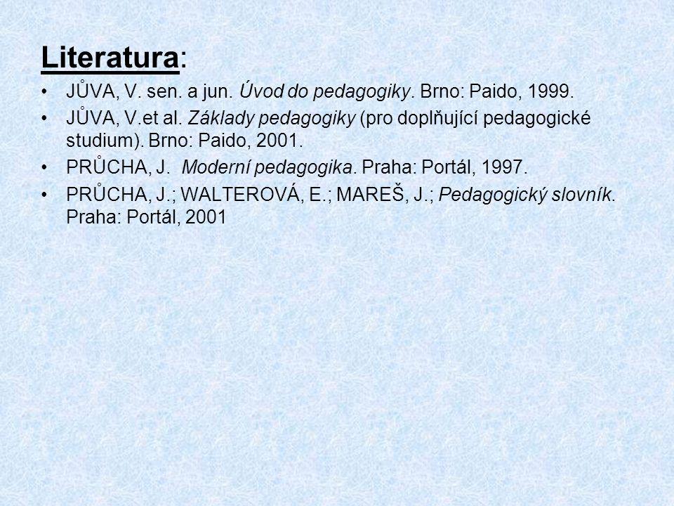 Literatura: JŮVA, V. sen. a jun. Úvod do pedagogiky. Brno: Paido, 1999. JŮVA, V.et al. Základy pedagogiky (pro doplňující pedagogické studium). Brno: