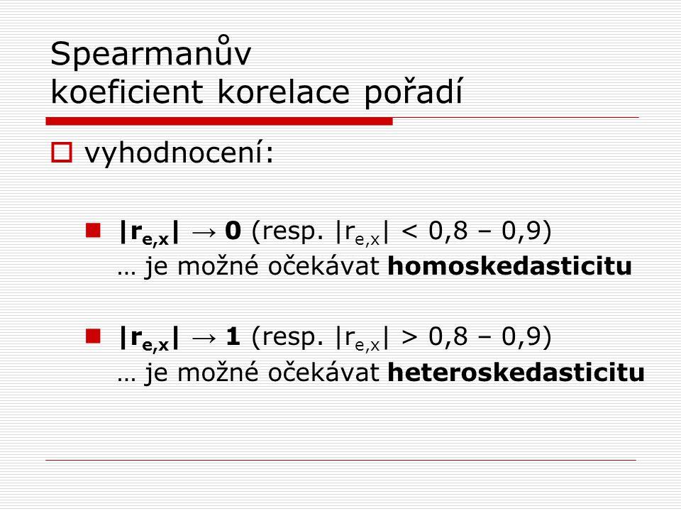 Spearmanův koeficient korelace pořadí -třeba testovat statistickou významnost pro abstraktní model -testuje se přes t-statistiku: H 0 : homoskedasticita H 1 : heteroskedasticita vypočtená t hodnota > t 1-α/2 (n-k-1) → zamítneme H 0 vypočtená t hodnota < t 1-α/2 (n-k-1) → akceptujeme H 0