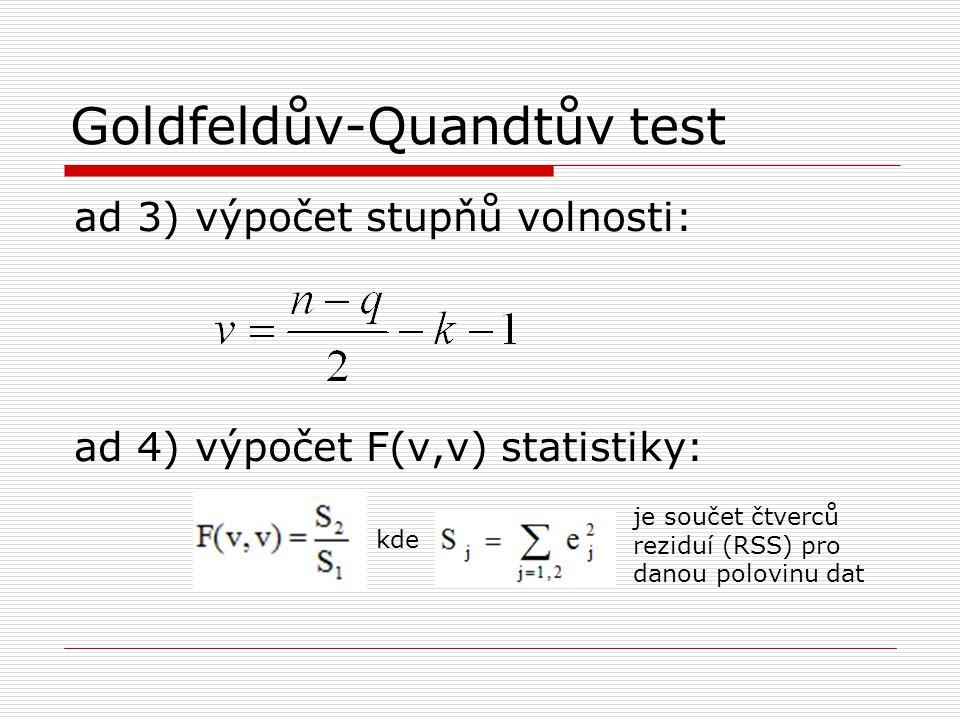 Goldfeldův-Quandtův test Testovaná hypotéza: H 0 : homoskedasticita H 1 : heteroskedasticita Vyhodnocení: F(v,v) vypočtená > F(v,v) tabulková …akceptujeme heteroskedasticitu na hladině α, v opačném případě přijmeme homoskedasticitu