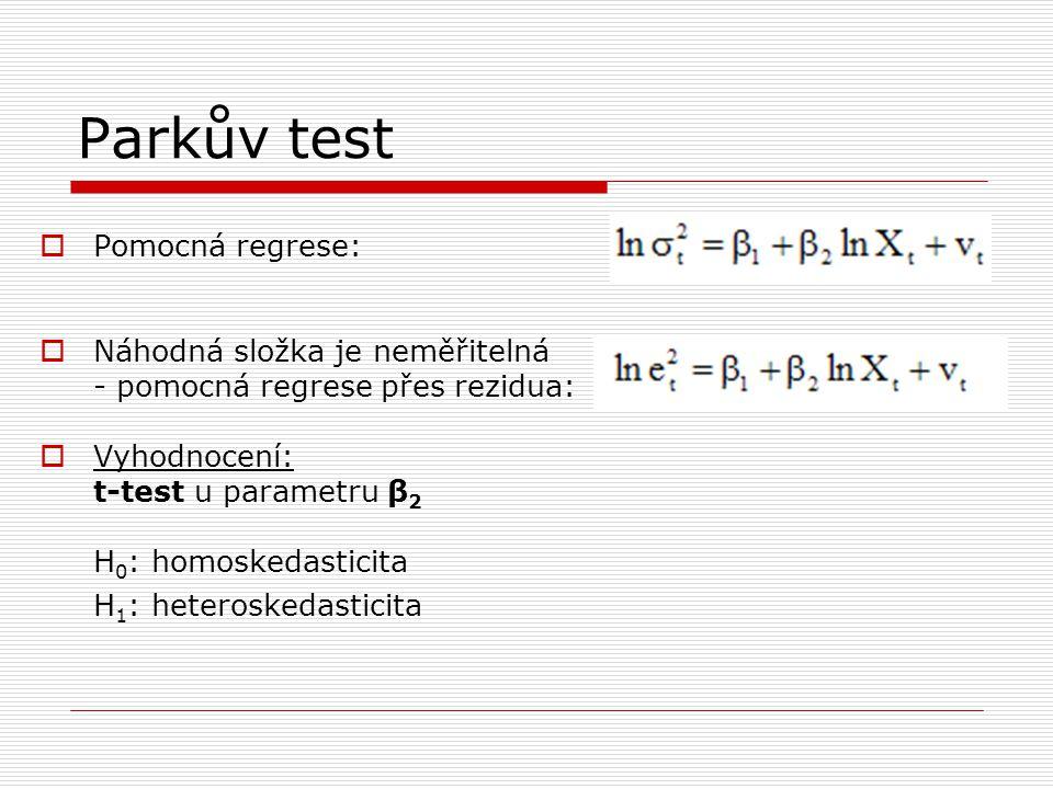 Parkův test  Pomocná regrese:  Náhodná složka je neměřitelná - pomocná regrese přes rezidua:  Vyhodnocení: t-test u parametru β 2 H 0 : homoskedasticita H 1 : heteroskedasticita