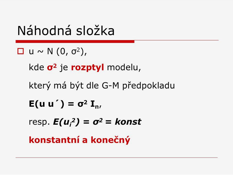 Náhodná složka - vlastnosti  σ 2 je konstantní a konečný rozptyl → HOMOSKEDASTICITA  porušení G-M předpokladu → HETEROSKEDASTICITA σ 2 není konstantní nebo konečná, tj.