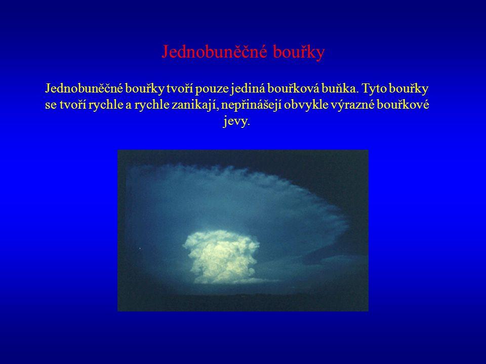 Jednobuněčné bouřky Jednobuněčné bouřky tvoří pouze jediná bouřková buňka. Tyto bouřky se tvoří rychle a rychle zanikají, nepřinášejí obvykle výrazné