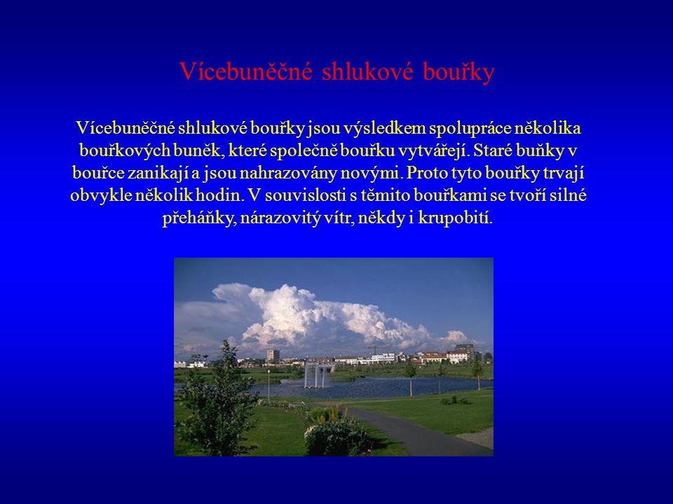 Vícebuněčné shlukové bouřky Vícebuněčné shlukové bouřky jsou výsledkem spolupráce několika bouřkových buněk, které společně bouřku vytvářejí. Staré bu