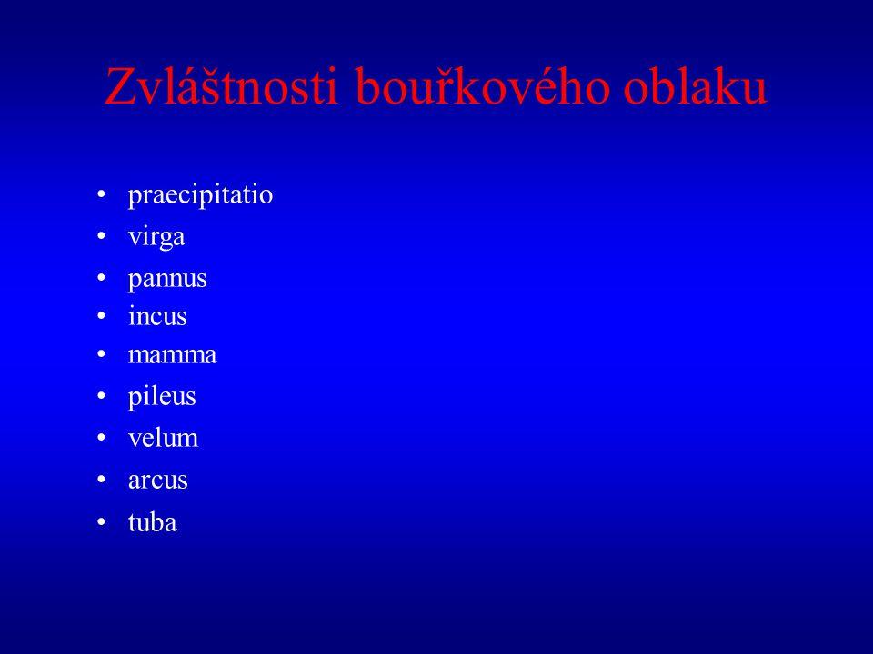praecipitatio virga pannus incus mamma pileus velum arcus tuba