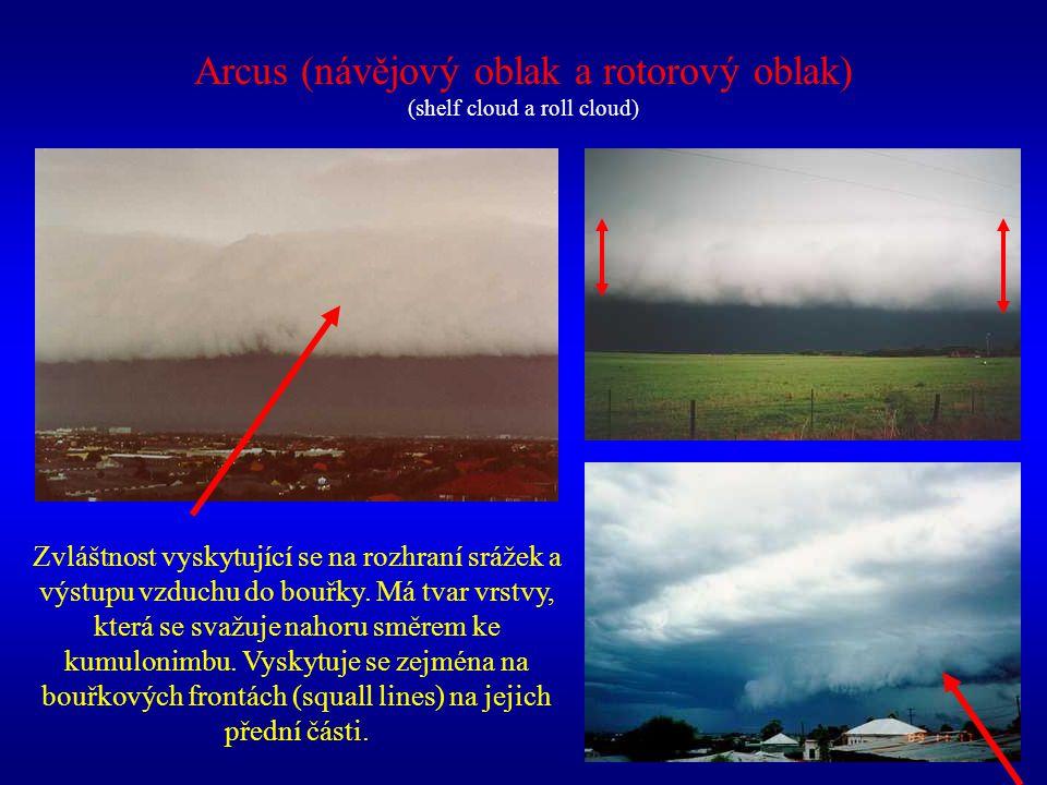 Arcus (návějový oblak a rotorový oblak) (shelf cloud a roll cloud) Zvláštnost vyskytující se na rozhraní srážek a výstupu vzduchu do bouřky. Má tvar v