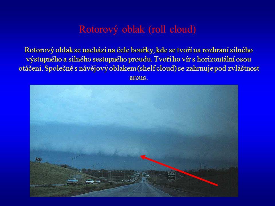 Rotorový oblak (roll cloud) Rotorový oblak se nachází na čele bouřky, kde se tvoří na rozhraní silného výstupného a silného sestupného proudu. Tvoří h