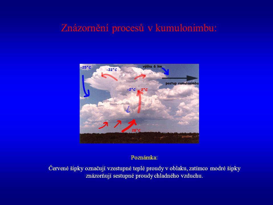 Znázornění procesů v kumulonimbu: Poznámka: Červené šipky označují vzestupné teplé proudy v oblaku, zatímco modré šipky znázorňují sestupné proudy chl
