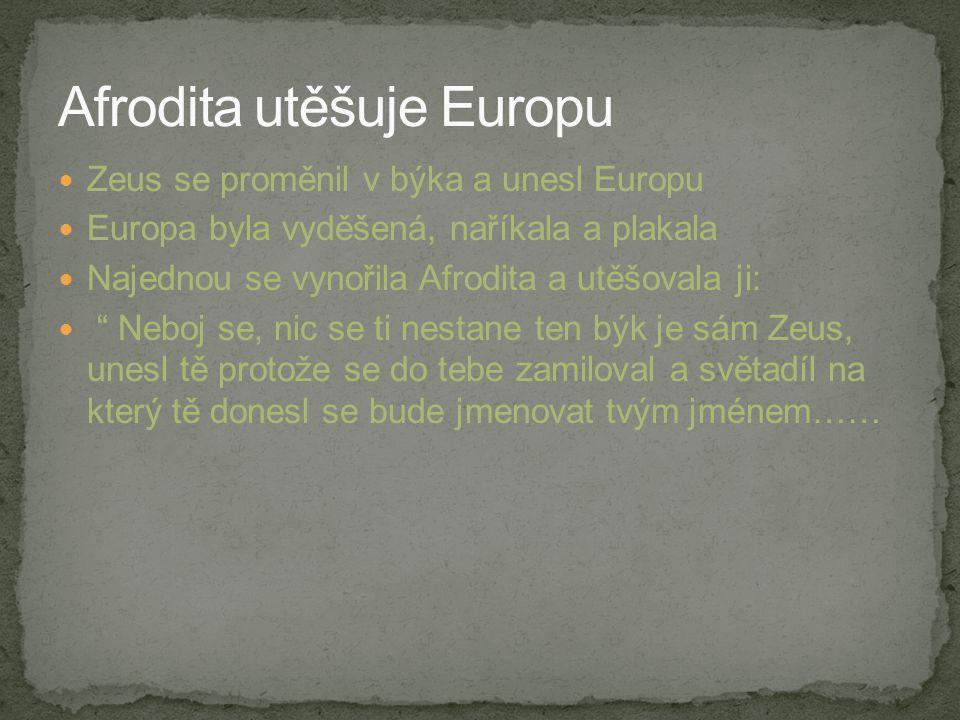 """Zeus se proměnil v býka a unesl Europu Europa byla vyděšená, naříkala a plakala Najednou se vynořila Afrodita a utěšovala ji: """" Neboj se, nic se ti ne"""