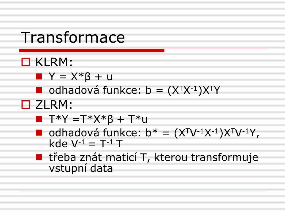 Transformace  KLRM: Y = X*β + u odhadová funkce: b = (X T X -1 )X T Y  ZLRM: T*Y =T*X*β + T*u odhadová funkce: b* = (X T V -1 X -1 )X T V -1 Y, kde