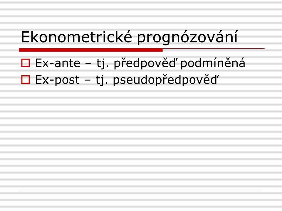 Ekonometrické prognózování  Ex-ante – tj. předpověď podmíněná  Ex-post – tj. pseudopředpověď