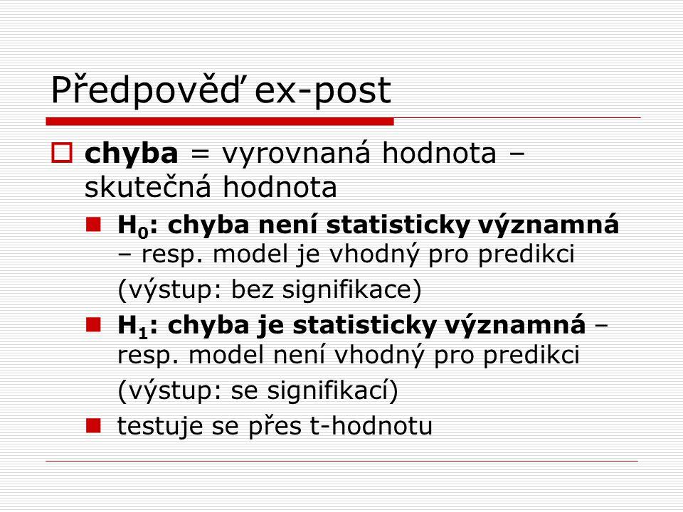 Předpověď ex-post  chyba = vyrovnaná hodnota – skutečná hodnota H 0 : chyba není statisticky významná – resp. model je vhodný pro predikci (výstup: b