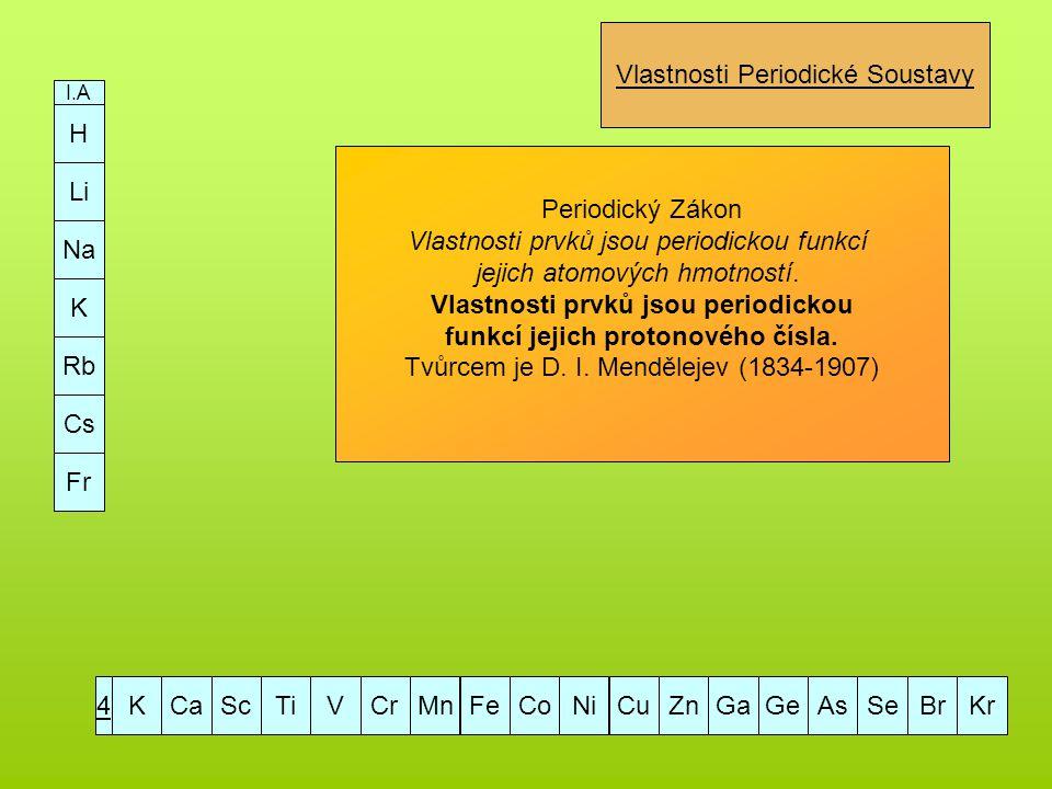 H Li Na K Rb Cs Fr I.A KCaScTiVCrMnFeCoNiCuZnGaGeAsSeBrKr4 Vlastnosti Periodické Soustavy Periodický Zákon Vlastnosti prvků jsou periodickou funkcí je