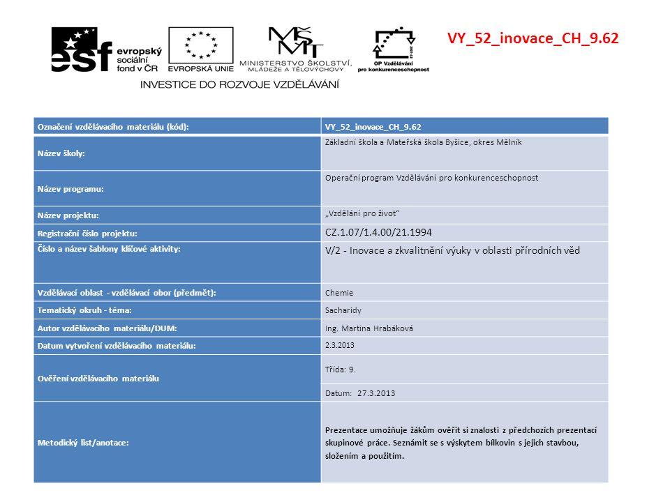 VY_52_inovace_CH_9.62 Označení vzdělávacího materiálu (kód):VY_52_inovace_CH_9.62 Název školy: Základní škola a Mateřská škola Byšice, okres Mělník Ná