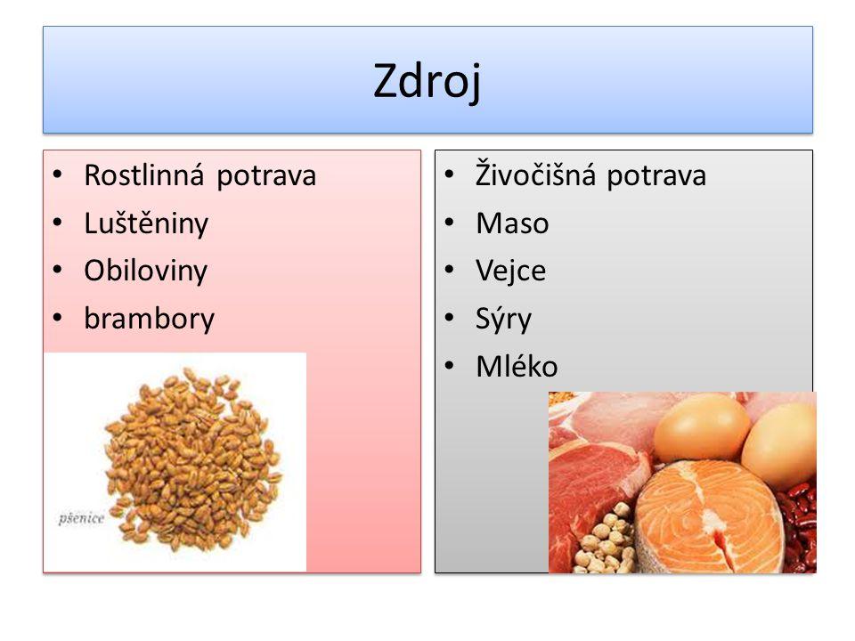 Zdroj Rostlinná potrava Luštěniny Obiloviny brambory Rostlinná potrava Luštěniny Obiloviny brambory Živočišná potrava Maso Vejce Sýry Mléko Živočišná potrava Maso Vejce Sýry Mléko