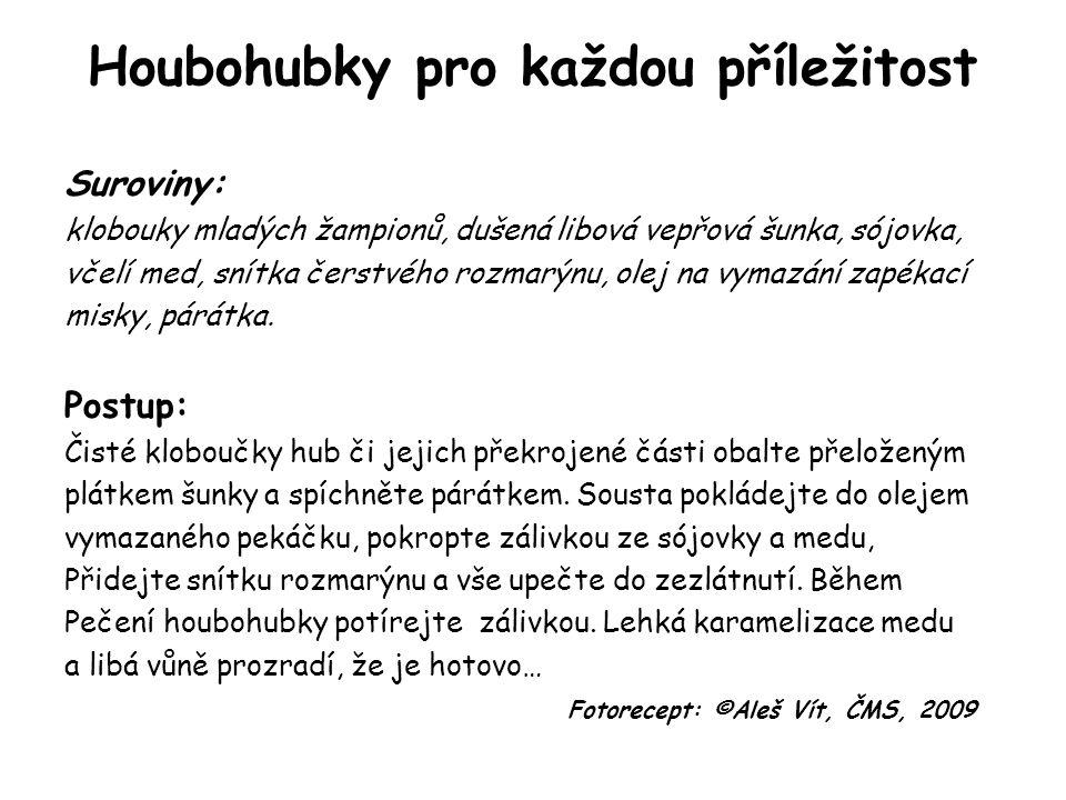 Houbohubky pro každou příležitost Suroviny: klobouky mladých žampionů, dušená libová vepřová šunka, sójovka, včelí med, snítka čerstvého rozmarýnu, olej na vymazání zapékací misky, párátka.
