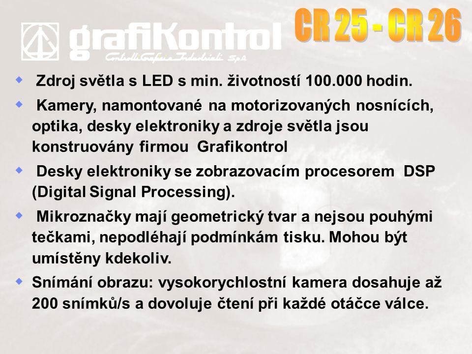   Zdroj světla s LED s min. životností 100.000 hodin.   Kamery, namontované na motorizovaných nosnících, optika, desky elektroniky a zdroje světla