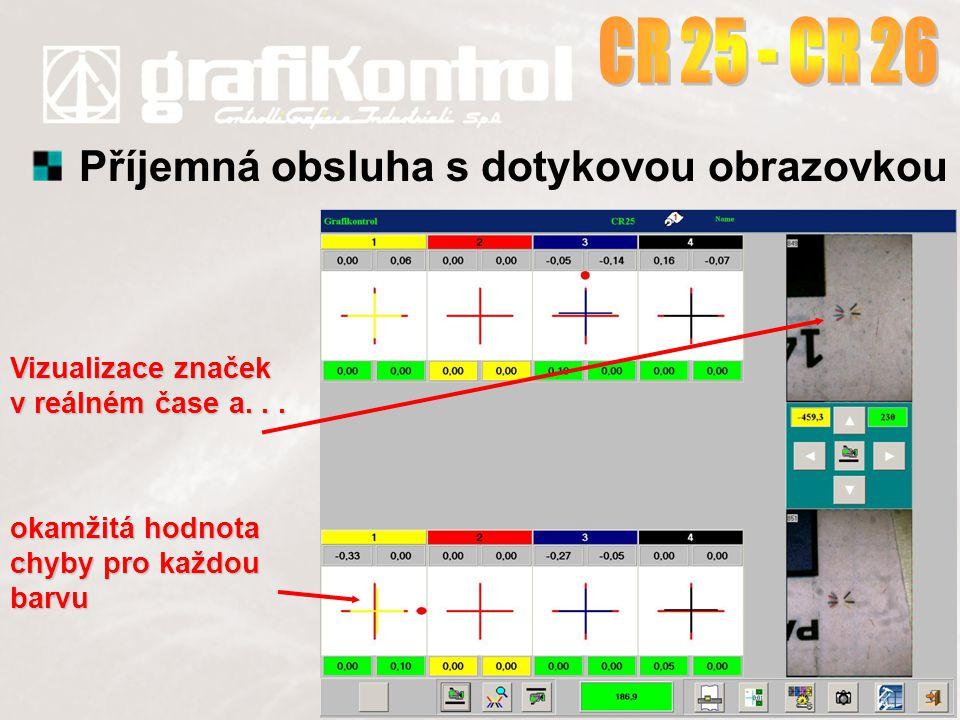 Příjemná obsluha s dotykovou obrazovkou Vizualizace značek v reálném čase a... okamžitá hodnota chyby pro každou barvu