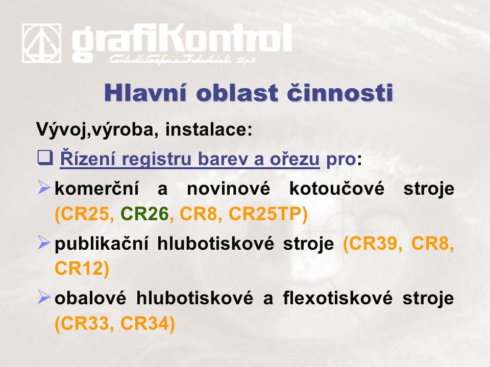 Vývoj,výroba, instalace:  Řízení registru barev a ořezu pro:  komerční a novinové kotoučové stroje (CR25, CR26, CR8, CR25TP)  publikační hlubotisko
