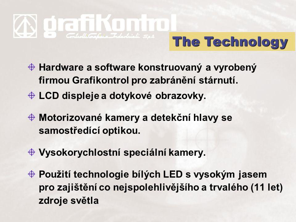 Hardware a software konstruovaný a vyrobený firmou Grafikontrol pro zabránění stárnutí. LCD displeje a dotykové obrazovky. Motorizované kamery a detek