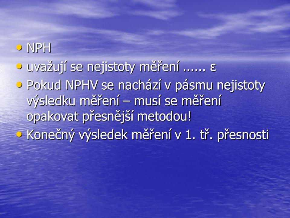 NPH NPH uvažují se nejistoty měření...... ε uvažují se nejistoty měření...... ε Pokud NPHV se nachází v pásmu nejistoty výsledku měření – musí se měře