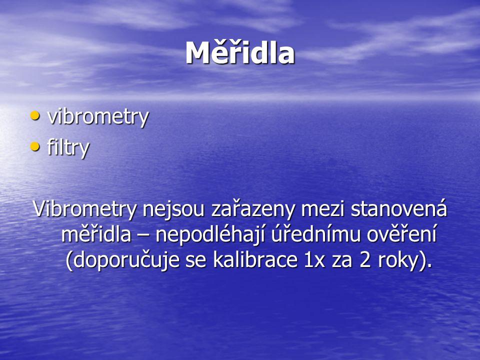 Měřidla vibrometry vibrometry filtry filtry Vibrometry nejsou zařazeny mezi stanovená měřidla – nepodléhají úřednímu ověření (doporučuje se kalibrace