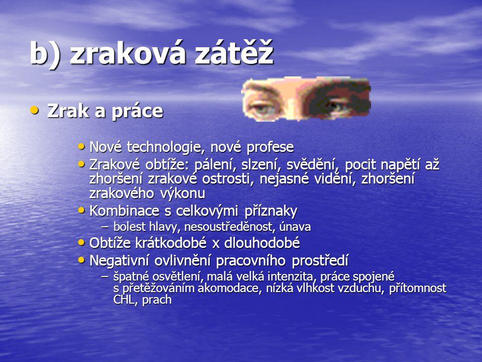 b) zraková zátěž Zrak a práce Zrak a práce Nové technologie, nové profese Nové technologie, nové profese Zrakové obtíže: pálení, slzení, svědění, poci