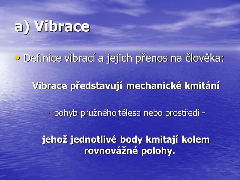 a) Vibrace Definice vibrací a jejich přenos na člověka: Definice vibrací a jejich přenos na člověka: Vibrace představují mechanické kmitání -pohyb pru