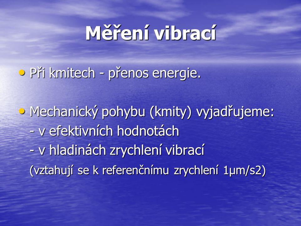 Měření vibrací Měření vibrací po potřeby kategorizace: Měření vibrací po potřeby kategorizace: Základem hodnocení – energeticky ekvivalentní hladina (hodnota) zrychlení vibrací (je vážená příslušným filtrem podle způsobu a směru působení vibrací.).
