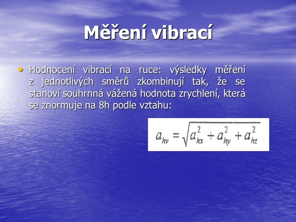 Měření vibrací Hodnocení vibrací na ruce: výsledky měření z jednotlivých směrů zkombinují tak, že se stanoví souhrnná vážená hodnota zrychlení, která