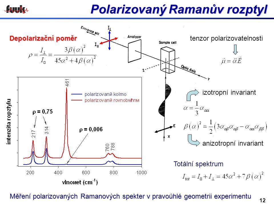 12 Polarizovaný Ramanův rozptyl Polarizovaný Ramanův rozptyl Měření polarizovaných Ramanových spekter v pravoúhlé geometrii experimentu Depolarizační