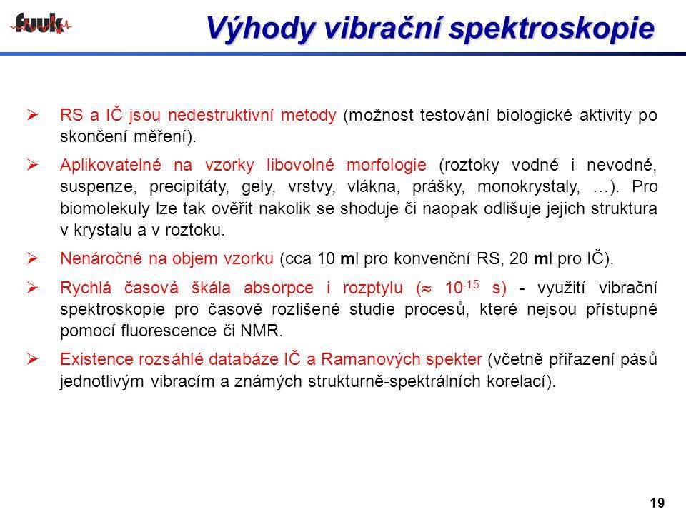 Výhody vibrační spektroskopie  RS a IČ jsou nedestruktivní metody (možnost testování biologické aktivity po skončení měření).  Aplikovatelné na vzor