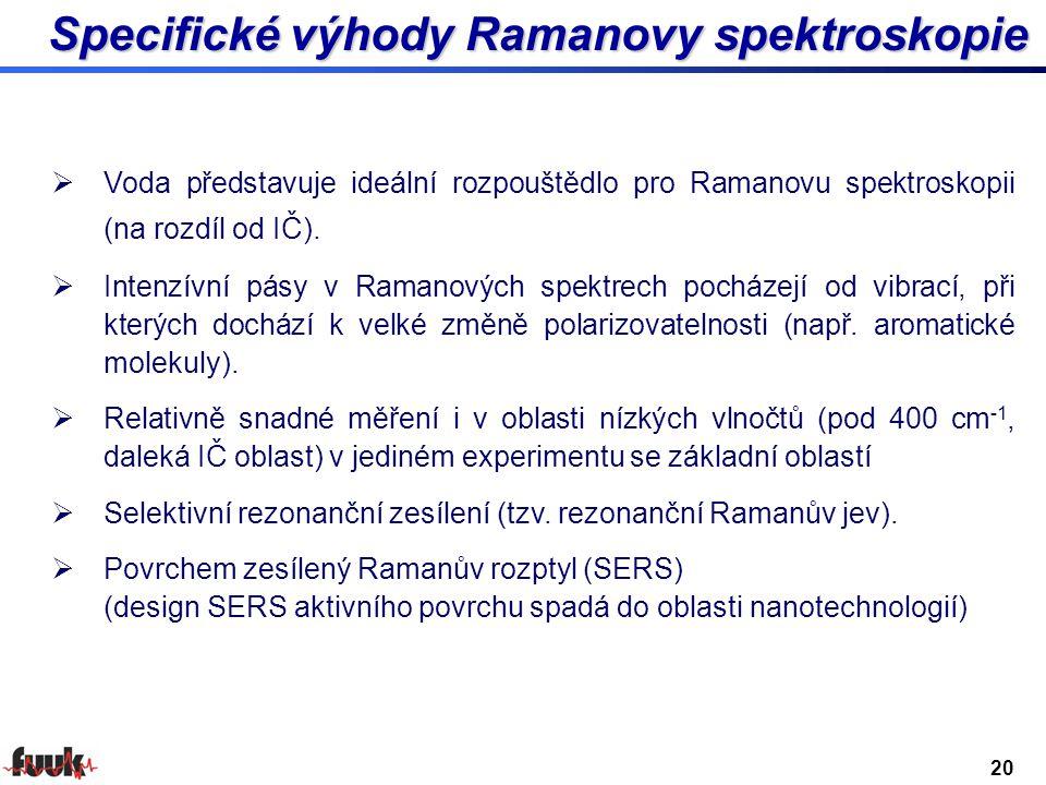 Specifické výhody Ramanovy spektroskopie  Voda představuje ideální rozpouštědlo pro Ramanovu spektroskopii (na rozdíl od IČ).  Intenzívní pásy v Ram