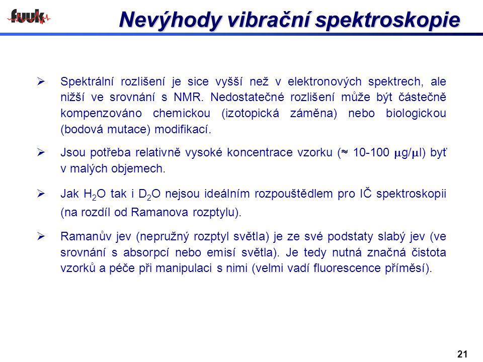 Nevýhody vibrační spektroskopie  Spektrální rozlišení je sice vyšší než v elektronových spektrech, ale nižší ve srovnání s NMR. Nedostatečné rozlišen